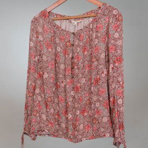 LUCKY BRAND FLORAL TUNIC BLOUSE SIZE LARGE
